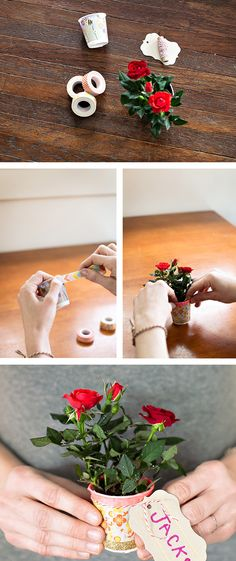 Washi tape dixie cup vases - easy craft project for kids!