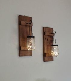 Set of 2 Hanging Mason Jar Sconces with Lights, Rustic Home Decor, Set of Farmhouse Wall Decor, Mason Jar Lights, Mason Jar Wall Decor - Home Decoraiton Mason Jar Wall Sconce, Mason Jar Lighting, Sconces Living Room, Living Room Lighting, Hallway Lighting, Traditional Wall Lighting, Luminaire Mural, Home Decor Sets, Farmhouse Wall Decor