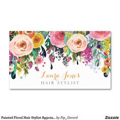 Painted Floral Hair Stylist Appointment Cards Business Card