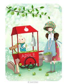 Kori Kumi Cards - An Apple a Day Santoro London, 3d Cards, Creative Pictures, Children's Book Illustration, Cartoon Drawings, Cool Art, Fun Art, Cute Kids, Illustrators