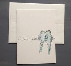 Hand Drawn Card-Love Bird I Love You-Couples Initials-Love and Wedding Drawing by MyImaginationInInk MTO by WoodlandMeadows on Etsy https://www.etsy.com/listing/154891503/hand-drawn-card-love-bird-i-love-you