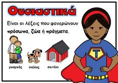 Picture Letter Activities, Educational Activities, Grammar Posters, Greek Language, Language Lessons, Special Education, Kids Learning, Back To School, Family Guy