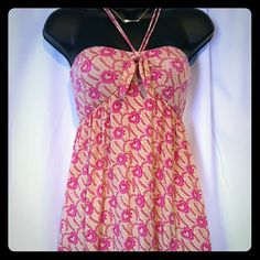 """Floral hearts sundress Great condition From the bust down is 27"""" Bust 25"""" Straps from front to back is about 20-21"""" not adjustable Cute pink, beige, and a little bit of red dress. Bust in the back stretches to allow extra room for the ladies. Light and flowing dress. Free People Dresses"""