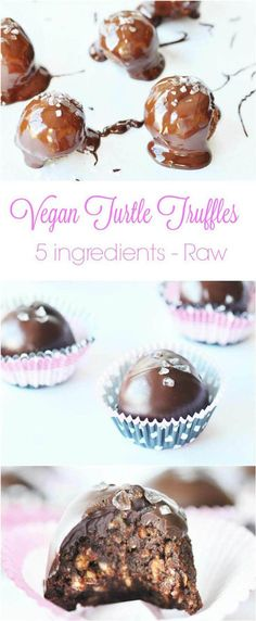5 Ingredient Vegan Turtle Truffles (Raw & Gluten-free). All you need is date caramel, cocoa powder, chocolate chips, almonds, and sea salt to make these deliciously elegant truffles recipe. Perfect for Valentine's Day or to brighten up an ordinary day. www.veganosity.com