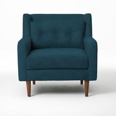 """Crosby Armchair   West Elm 34.5""""w x 37.5""""d x 35.5""""h. $799 Solid wood frame; solid wood legs with Pecan-stained finish. Extra-deep seat. Loose seat cushions and lumbar pillows."""