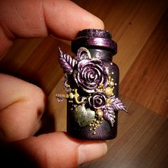 tiny mixed media altered bottle