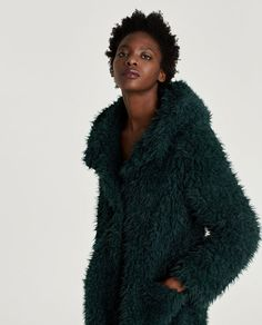 Image 6 of TEXTURED COAT WITH HOOD from Zara