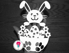 Boy Easter Bunny Rabbit Papercut Template SVG / DXF от DigitalGems