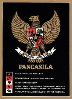 A depiction of the Garuda Pancasila on a poster; each tenet of the Pancasila is written beside its symbol. Foto Poster, Indonesian Art, Dragon Knight, Morning Greetings Quotes, Cartoon Jokes, Cover Tattoo, Galaxy Wallpaper, Coat Of Arms, Photo Editing