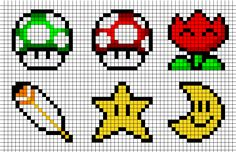 I have a Super Nintendo that I still use. My kids like a lot to play the Super Mario World game. So I'm posting several easy to print patterns from SMW. Here is the first half of the patterns…
