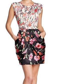Vertigo NEW White Women's Small S Contrast Floral Sheath Dress $210- #883 DEAL