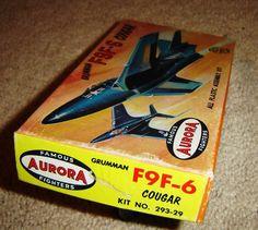 Aurora Grumman F9F 6 Cougar 1st Issue 1957 | eBay Plastic Model Kits, Plastic Models, Aurora, Ebay, Northern Lights