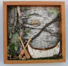 Framed Canoe Woodland Scene  Birch Bark Canoe by MadeAtTheLake, $70.00
