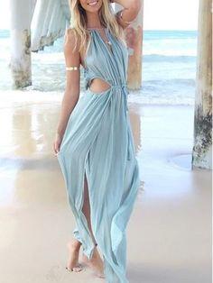 Sky Blue Cut Away Open Waist Split Maxi Dress