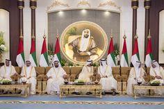 From right: Sheikh Saud bin Rashid Al Mu'alla, Ruler of UAQ, Sheikh Hamad bin Mohamed Al Sharqi, Ruler of Fujairah, Sheikh Mohammed bin Zayed, Crown Prince of Abu Dhabi and Deputy Supreme Commander of the Armed Forces, Sheikh Mohammed bin Rashid, Vice-President and Ruler of Dubai, Dr...