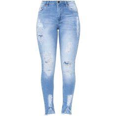 Light Wash V Hem Distress Slim Jean (260 NOK) ❤ liked on Polyvore featuring jeans, pants, bottoms, light wash distressed jeans, blue ripped jeans, torn jeans, destroyed light wash jeans and slim jeans