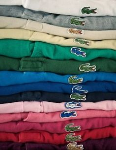 In the these shirts were called Izod Lacoste! Now they are referred to as only Lacoste! I had all colors of these as a teenager. Loved them then and still do now! Mode Vintage, Retro Vintage, Vintage Stuff, Vintage Tees, Polos Lacoste, Nostalgia, Le Polo, My Childhood Memories, Sweet Memories