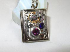 Steampunk book locket necklace watch movement Swarovski