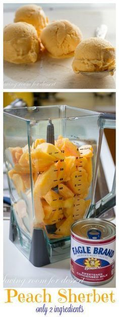 Sherbet Peach Sherbet by savingdessert: Two ingredients … that's it … and no need for an ice cream maker – seriously! This super simple Peach Sherbet is made in a blender. Serve immediately as soft-serve or freeze for an ice cream like consistency. Ice Cream Desserts, Ice Cream Recipes, Just Desserts, Delicious Desserts, Frozen Desserts, Yummy Food, Summer Desserts, Vegan Desserts, Gelato