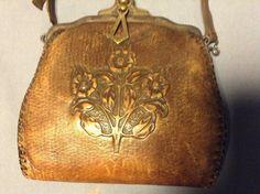 Vintage Antique Art Nouveau Floral Hand Tooled Purse Leather Crafter Turn Lock   eBay