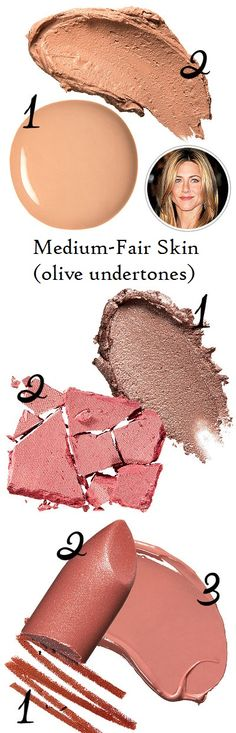 Make-up shades for medium-fair skin (white with olive undertones). Tip: go for hints of gold, and use understated rose for lips & blush.