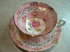 VINTAGE ROYAL GRAFTON PINK ROSE FANCY GOLD PINK TEA CUP AND SAUCER in Pottery & Glass, Pottery & China, China & Dinnerware | eBay
