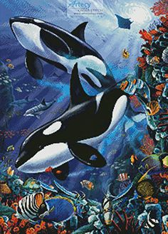 Orcas - cross stitch pattern designed by Tereena Clarke. Category: Whale.