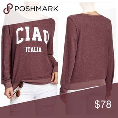 """Wildfox Italia Sweatshirt This is a NWT Wildfox super soft fleece Ciao Italia sweatshirt in a pretty burgundy color. Material is a poly, rayon & spandex blend. It's a bit of an oversized fit so good for a S or XS. Made in the USA🇺🇸 ⚜Please see my """"reasonable offers"""" listing at the top of my page before submitting an offer⚜Thank you😊 Wildfox Tops Sweatshirts & Hoodies"""
