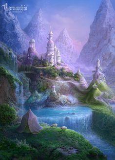 Summer residence of the Fruit royal court by cornacchia-art on DeviantArt Fantasy City, Fantasy Castle, Fantasy Places, Fantasy World, Fantasy Landscape, Landscape Art, Royal Court, Fantasy Setting, Animes Wallpapers