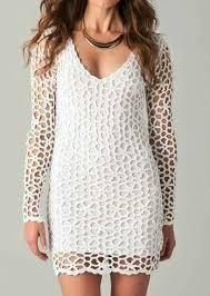 Confira esses lindos vestidos de manga longa em crochê