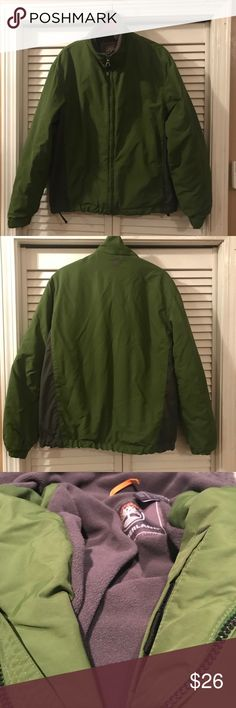 "Mens Timberland Green Gray Jacket Fleece lined Great jacket in excellent used condition. Drawstring at waist. Velcro at cuffs. Length is 25"". 23"" armpit to armpit. Timberland Jackets & Coats"