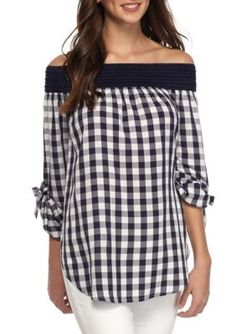 love Fire Navy Off Shoulder Gingham Top