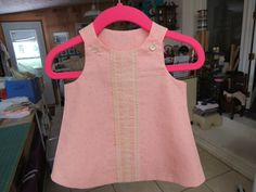 pink cotton shift with antique lace and shell buttons..3 month