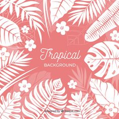 Colorful tropical background with leaves and flowers Free Vector Tropical Background, Sunset Background, Yellow Background, Tropical Leaves, Tropical Plants, Tropical Flowers, Watercolor Plants, Watercolor Leaves, Summer Backgrounds