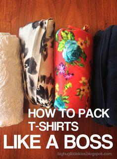 Doblar camisetas para que ocupen menos