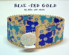 Julie Ann Smith Designs BLUE AND GOLD Bracelet Odd Count Peyote Beadweaving Bracelet Pattern
