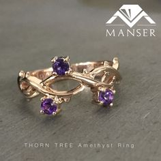 Rose gold thorn tree ring with amethysts. Tree Rings, Amethysts, Sapphire, Jewelry Making, Wedding Rings, Rose Gold, Engagement Rings, Jewels, Enagement Rings