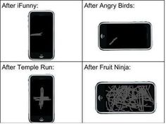 Angry Birds versus Fruit Ninja versus your mobile screen
