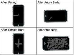 Angry Birds versus Fruit Ninja versus your mobile screen