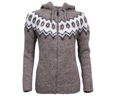 Hulda Icelandic Wool hand knitted Jumper with Zipper and Hood Traditional Pattern