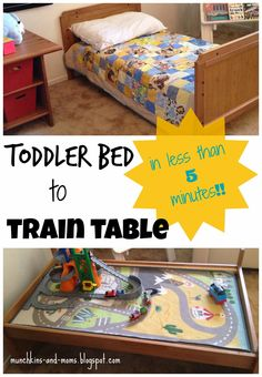 Toddler Bed to Train Table (in less than 5 minutes!) Flip bed over and top with a train rug Diy Toddler Bed, Train Table, Childrens Wall Art, Homemade Toys, Kid Spaces, Diy Table, Kid Beds, Home Organization, Kids Bedroom