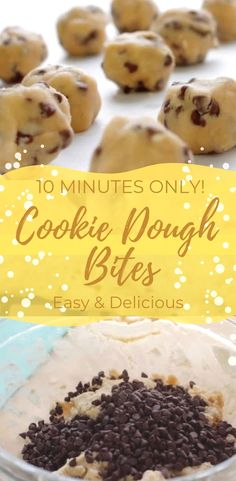 10 Minutes Only No Bake Cookie Dough Bites easy Dleicious Simply Bakings Includes Video Tutorial No Bake Cookie Dough, Healthy Cookie Dough, Chocolate Cookie Dough, Cookie Dough Recipes, No Bake Cookie Balls Recipe, Easy No Bake Cookies, Easy No Bake Desserts, Desserts Diy, Baking Desserts