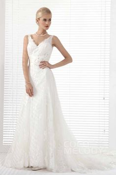 Chic A-Line V-Neck Chapel Train Tulle Wedding Dress Alb12290#Cocomelody#weddingdresses#bridalgown#