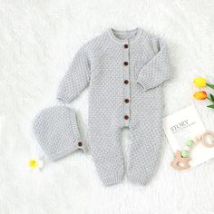Unisex Infant Knit Jumpsuit and Hat Baby Boy Jumpsuit, Jumpsuit Outfit, Knit Fashion, Trendy Fashion, Girl Fashion, Long Romper, Long Sleeve Romper, Toddler Sweater, Jumpsuits For Girls