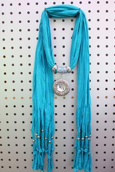 Round Charms Jewelry Scarf with a oversized rhinestone pendant Royal blue cheap scarves on www.jewelryscarfcanada.com