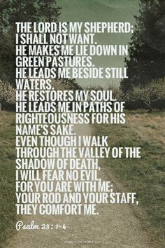 I can repeat this scripture a thousand times and never get tired of it - it was my daddy's favorite Bible verse and I always think of him when I see it. Favorite Bible Verses, Bible Verses Quotes, Bible Scriptures, Me Quotes, Jesus Bible, Qoutes, Lord Is My Shepherd, Gods Grace, Spiritual Quotes