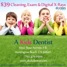 "Hello Parents!  We have a great featured #coupon from A #Kids #Dentist in #HuntingtonBeach, California ""Parents say their kids can't wait to see her!"" So check out this great deal she is offering!  *click on the link to access this coupon now*  http://www.doctorscoupons.com/coupon/616/39_cleaning_exam__digital_x-rays"