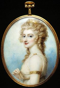 Unknown Lady of the Sotheby or Isted Families, miniature by Richard Cosway. Watercolor on ivory (1795)