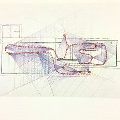 """Paul Rudolph, drawing of the Barcelona Pavilion (1986). """"Circulation and cones…"""