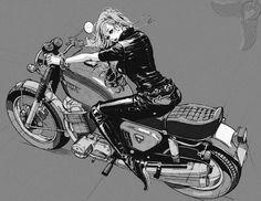 Matsuo Hiromi – anime style girls More info and pics: The Official Website of Matsuo Hiromi Pin Up and Cartoon Girls Motorcycle Art, Bike Art, Dibujos Tumblr A Color, Rockabilly Cars, Damier, Girl Cartoon, Comic Art, Concept Art, Art Gallery